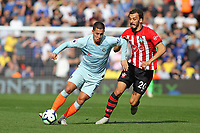 Football - 2018 / 2019 Premier League - Southampton vs. Chelsea<br /> <br /> Eden Hazard of Chelsea leaves Southampton's Manolo Gabbiadini behind as he sets up another attack at St Mary's Stadium Southampton<br /> <br /> COLORSPORT/SHAUN BOGGUST
