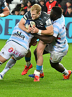 Rugby Union - 2019 / 2020 European Rugby Heineken Champions Cup - Pool Four: Ospreys vs. Racing 92<br /> <br /> Aled Davies of Ospreys tackled by Bernard Le Roux of Racing, at the Liberty Stadium.<br /> <br /> COLORSPORT/WINSTON BYNORTH