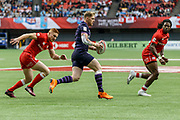 VANCOUVER, BC - MARCH 11: Scotland ball carrier looks to split Canada defenders during Game # 25- Canada vs Scotland Challenge Trophy QF1 match at the Canada Sevens held March 10-11, 2018 in BC Place Stadium in Vancouver, BC. (Photo by Allan Hamilton/Icon Sportswire)