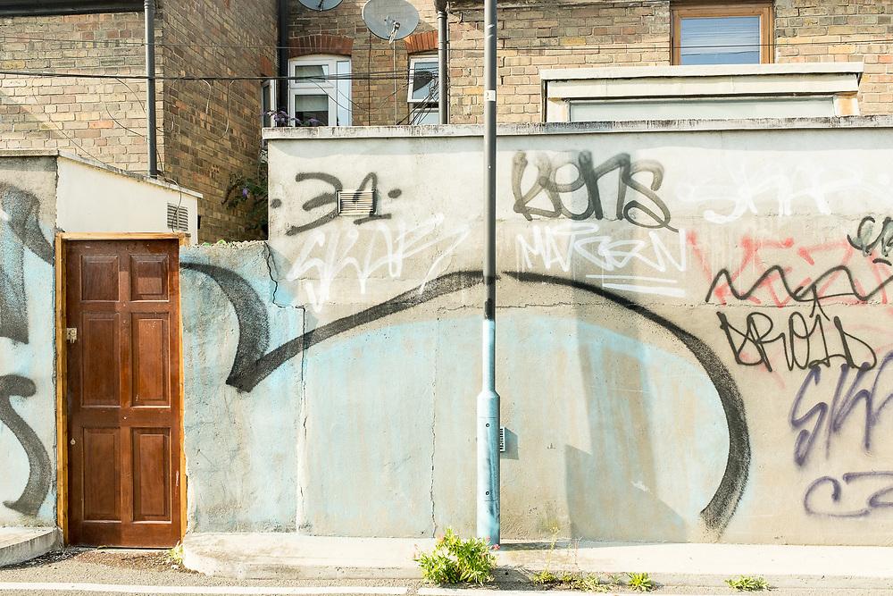 Street scene and graffiti on the canal in Dublin, Ireland.