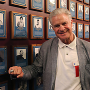 CANASTOTA, NY - JUNE 14: Boxing commentator Jim Lampley poses with his new ring and photo on the wall after the induction ceremony at the International Boxing Hall of Fame induction Weekend of Champions events on June 14, 2015 in Canastota, New York. (Photo by Alex Menendez/Getty Images) *** Local Caption *** Jim Lampley