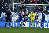 Joe Ralls of Cardiff city © celebrates after he scores his teams 1st goal. EFL Skybet championship match, Cardiff city v Aston Villa at the Cardiff City Stadium in Cardiff, South Wales on Monday 2nd January 2017.<br /> pic by Andrew Orchard,