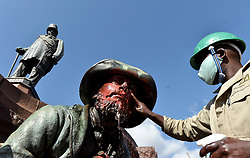 South Africa - Coronavirus - Pretoria - 18 June 2020 - Following world wide protest against racism which resulted in the statues at Church Square being defaced. Efforts are now being made to clean red paint from the statues.<br /> Picture: Oupa Mokoena/African News Agency (ANA)