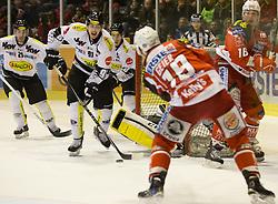 03.03.2015, Stadthalle, Klagenfurt, AUT, EBEL, EC KAC vs Dornbirner Eishockey Club, Qualifikationsrunde, im Bild Luciano Aquino (Dornbirner Eishockey Club, #29), Martin Grabher-Meier (Dornbirner Eishockey Club, #91), Stefan Geier (EC KAC, #19), Patrick Harand (EC KAC, #16), Nathan Lawson (Dornbirner Eishockey Club, #52) // during the Erste Bank Icehockey League qualification round match betweeen EC KAC and Dornbirner Eishockey Club at the City Hall in Klagenfurt, Austria on 2015/03/03. EXPA Pictures © 2015, PhotoCredit: EXPA/ Gert Steinthaler