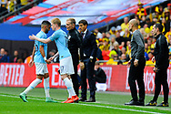 Substitution - Kevin De Bruyne (17) of Manchester City replaces Riyad Mahrez (26) of Manchester City  during the The FA Cup Final match between Manchester City and Watford at Wembley Stadium, London, England on 18 May 2019.