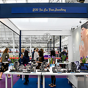 London, UK. 3rd September, 2018. Fei Liu Fine Jewellery exhibition at the International Jewellery London 2018, Olympia London, UK.