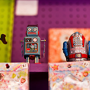 Bisbee, Arizona is known for being an eclectic town filled with eccentric artists, musicians and folks looking to get away from it all. The former copper and silver mining town now focuses its energy on tourism. Pictured are metal toys from Bisbee Stitches Teen Tiny Toy Store.