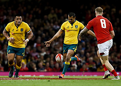 Kurtley Beale of Australia kicks ahead<br /> <br /> Photographer Simon King/Replay Images<br /> <br /> Under Armour Series - Wales v Australia - Saturday 10th November 2018 - Principality Stadium - Cardiff<br /> <br /> World Copyright © Replay Images . All rights reserved. info@replayimages.co.uk - http://replayimages.co.uk
