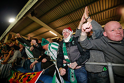 Blyth Spartans fans celebrate after their side win 1-2 to progress to the next round of the FA Cup - Photo mandatory by-line: Rogan Thomson/JMP - 07966 386802 - 05/12/2014 - SPORT - FOOTBALL - Hartlepool, England - Victoria Park - Hartlepool United v Blyth Spartans - FA Cup Second Round Proper.