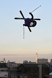 © Licensed to London News Pictures. 28/10/2011, London, UK.  Norway's PC Fosse jumps during a practice for the Battle of Britain freestyle ski competition at the Freeze Snowboard and Ski Festival at Battersea Power Station in London, Friday, Oct. 28, 2011. Photo credit : Sang Tan/LNP