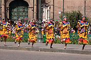 """Inti Raymi """"Festival of the Sun"""" procession outside Convento Santa Catalina, Plaza de Armas, Cusco"""