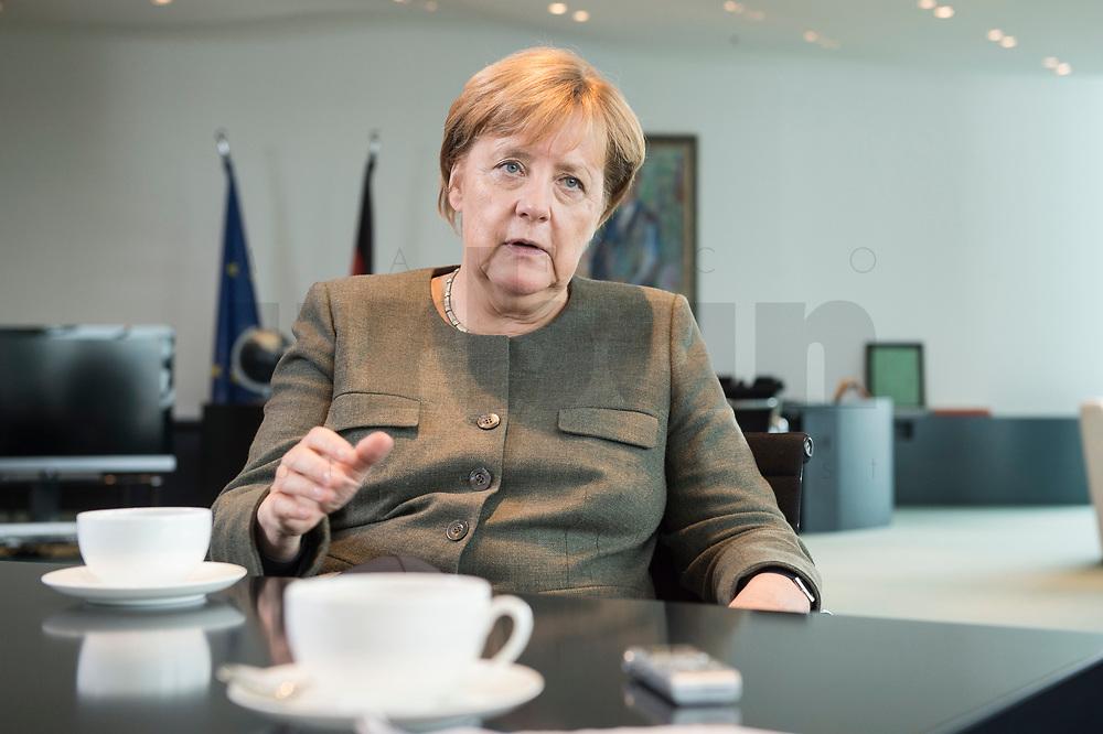 13 SEP 2017, BERLIN/GERMANY:<br /> Angela Merkel, CDU, Bundeskanzlerin, waehrend einem Interview, in Ihrem Buero, Bundeskanzlerin<br /> IMAGE: 20170917-01-004<br /> KEYWORDS: Büro