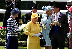 Anne, Princess Royal (left), Her Majesty The Queen (centre), The Duchess of Cornwall (second right) and Johnny Weatherby (right) during day two of Royal Ascot at Ascot Racecourse.