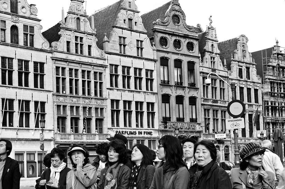 Tourist and former guild houses at Grote Markt, Antwerp, Belgium, Europe