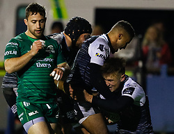 Harri Morgan of Ospreys celebrates scoring his sides third try<br /> <br /> Photographer Simon King/Replay Images<br /> <br /> Guinness PRO14 Round 7 - Ospreys v Connacht - Friday 26th October 2018 - The Brewery Field - Bridgend<br /> <br /> World Copyright © Replay Images . All rights reserved. info@replayimages.co.uk - http://replayimages.co.uk
