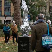 The statue dedicated to the feminist Mary Wollstonecraft on display in Newington Green 11th of November 2020, London, United Kingdom. The statue by artist Maggie Hambling has been 10 years in the making and was installed 10th of November 2020. The statue has created some controversy and attracted many onlookers and much discussion the day after it first went on display.