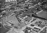 """Ackroyd 01668-3. """"Electric Steel Factory. Aerials. August 9, 1949"""" (5x7 negatives. Esco is a ten and a half acre site bounded by NW 26th, Nicolai, Wilson, NW 24th. Vaughn Street Baseball park is in these photos)"""