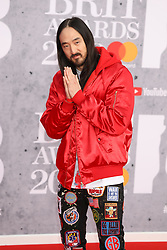 Steve Aoki is seen arriving at the O2 in London for the 2019 Brit Awards.<br /><br />20 February 2019.<br /><br />Please byline: Vantagenews.com