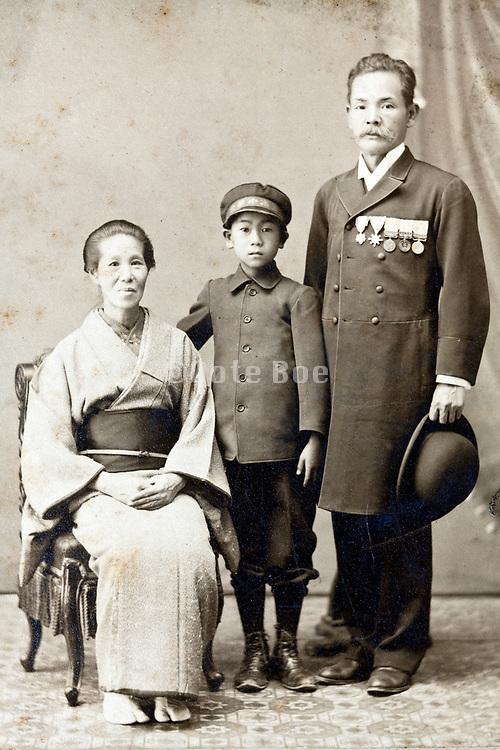 vintage traditional family studio portrait Japan