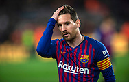 Leo Messi receives the trophy for the best player of the month in La Liga before the 31th round match of the La Liga 2018-2019 season between FC BARCELONA and ATLETICO DE MADRID at Camp Nou  Stadium in Barcelona, Spain, 6 April 2019.
