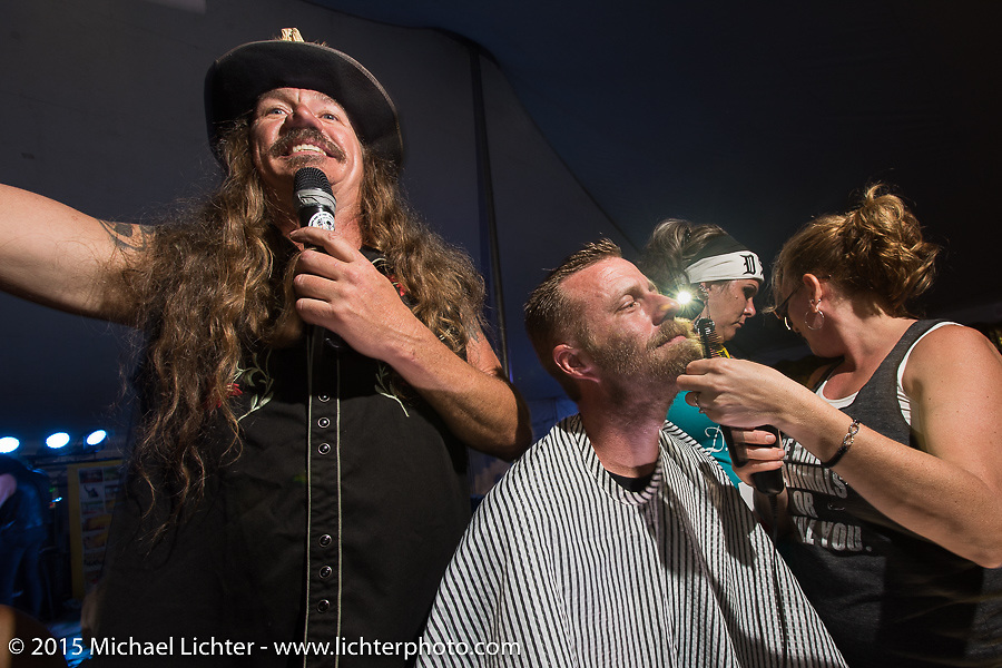 "The Chop-In Blocks ""Biker Beard-Off"" to benefit the Aidan Jack Seeger foundation for ALD at the Cackleberry Campground during Daytona Beach Bike Week, FL, USA. Thursday, March 12, 2015.  Photography ©2015 Michael Lichter."