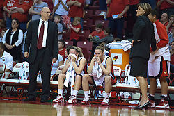 1 April 2010: Flanked by Randy Norton and Robin Pingeton - Amanda Clifton, Katie Broadway look on dejectedly as they realize the game has become out of reach. The Redbirds of Illinois State are dropped by the Golden Bears of California 61-45 in the semi-final round of the 2010 Women's National Invitational Tournament (WNIT) on Doug Collins Court inside Redbird Arena at Normal Illinois.
