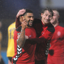 TELFORD COPYRIGHT MIKE SHERIDAN 26/1/2019 - James Mcquilkin and Ellis Deeney celebrate after Deeney scores to make it 4-0 during the Vanarama Conference North fixture between AFC Telford United and Southport at the Merseyrail Community Stadium