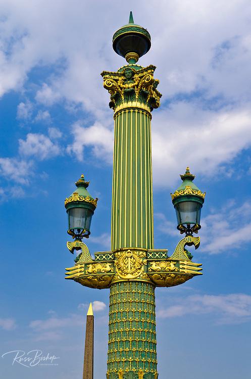 The Obelisk of Luxor and lamps, Place de la Concorde, Paris, France