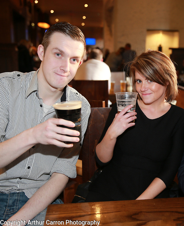 18/4/14 Shane Aylward, Malahide and Anne Leavy, Longford enjoying a drink on Good Friday at Connolly Station in Dublin. Picture:Arthur Carron
