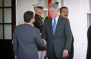 President Bill Clinton welcomes King Abdallah of Jordan at the White House May 18, 1999 in Washington, DC. This is Clinton's first meeting with the new King since his father King Hussein passed away from cancer.