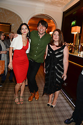 Left to right, YASMIN MILLS, ALEX JAMES and ELAINE FORAN at the Blue Monday Cheese Launch presented by Alex James and held at The Cadogan Hotel, Sloane street, London on 11th June 2013.