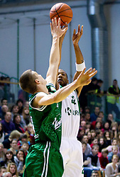 Dino Muric of Union Olimpija vs Jimmy Baxter of Krka  during basketball match between KK Krka and Union Olimpija Ljubljana of Round 7th of ABA League 2011/2012, on November 12, 2011 in Arena Leon Stukelj, Novo mesto, Slovenia. (Photo By Vid Ponikvar / Sportida.com)
