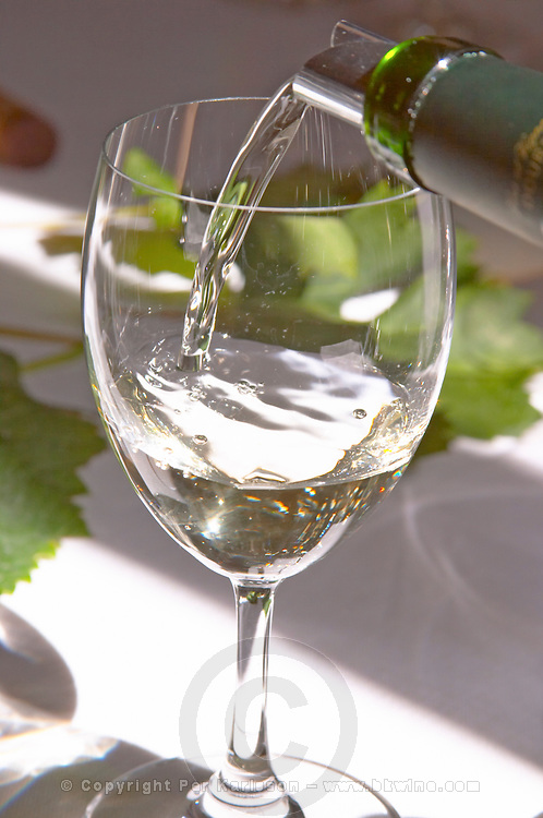 Serving a glass of clear white wine on a sunny white table cloth - Chateau Belgrave, Haut-Medoc, Grand Crus Classe 1855