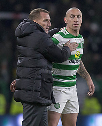 Celtic's Brendan Rodgers with his captain Scott Brown at end of the Ladbrokes Scottish Premiership match at Celtic Park, Glasgow.