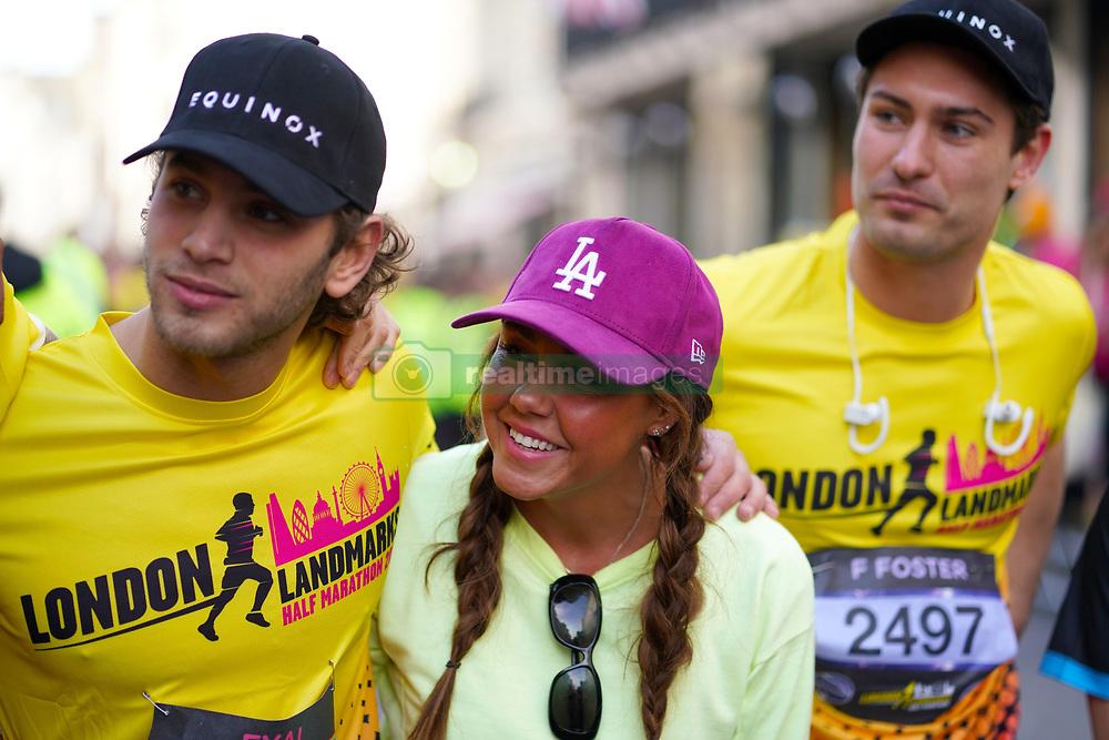 Eyal Booker and Michelle Heaton during the 2019 London Landmarks Half Marathon.