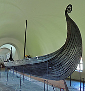 Known as the Oseberg ship, this Norwegian Viking ship was found in a large burial mound. It was built mainly from oak. and is said to date back to as far back as 800 AD.