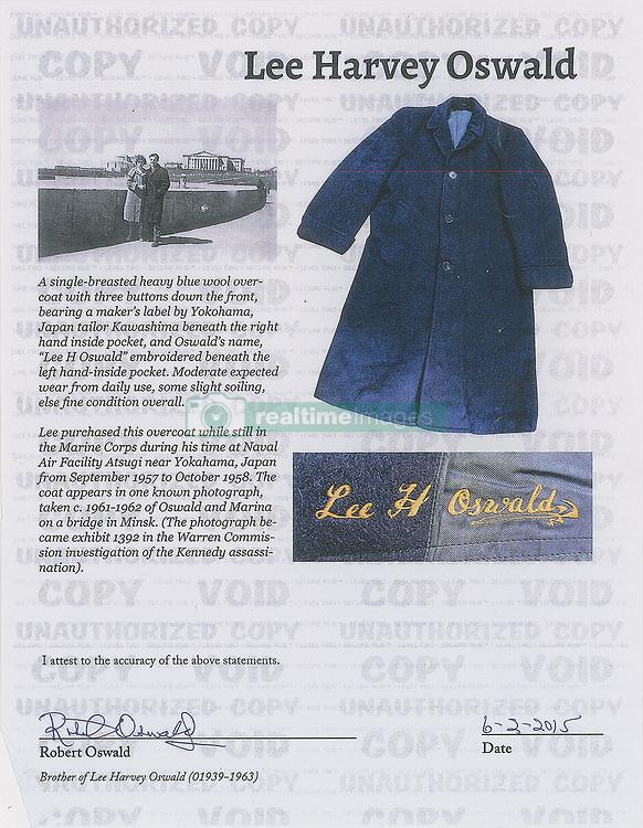 April 30, 2019 - Boston, Massachusetts, U.S. - C. 1950's Lee Harvey Oswald Trench Coat up for auction. (Credit Image: © Eddie Johnson Estate/RR AUCTION via ZUMA Wire/ZUMAPRESS.com)