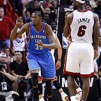 16 March 2011: Oklahoma City Thunder small forward Kevin Durant (35) celebrates during the Oklahoma City Thunder 96-85 victory over the Miami Heat at the AmericanAirlines Arena, Miami, Florida, USA.