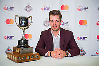 REGINA, SK - MAY 26: Sports Humanitarian of the Year, Garrett McFadden of the Guelph Storm at the Brandt Centre on May 26, 2018 in Regina, Canada. (Photo by Marissa Baecker/CHL Images)