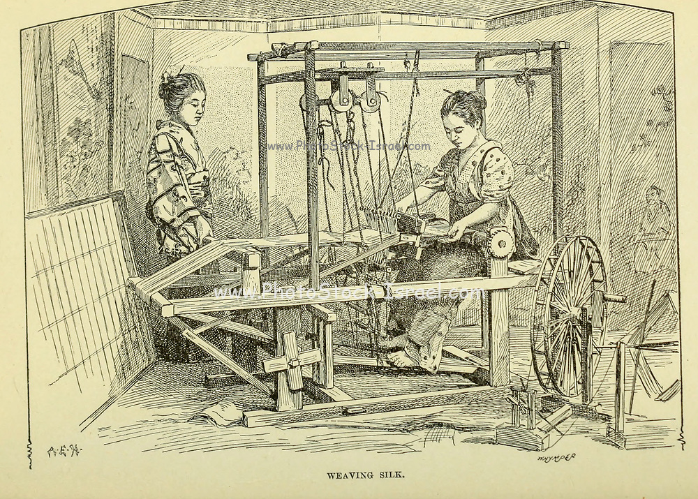 Women weaving Silk from the book ' Rambles in Japan : the land of the rising sun ' by Tristram, H. B. (Henry Baker), 1822-1906. Publication date 1895. Publisher New York : Revell