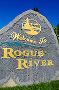 Welcome sign, Rogue River, Oregon USA