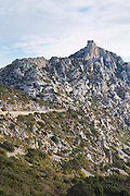 Chateau de Queribus. Hilltop Cathar fortification. Les Pays and Chateaux Cathares. Languedoc. The ruins of a chateau fortress. France. Europe.