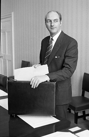 George Colley TD Minister for Finance..Budget Day..1972..19.04.1972..04.19.1972..19th April 1972..Pictured in his office at the Finance Department. The Minister for Finance, Mr George Colley, is seen preparing his paperwork prior to giving his budget speech at Dail Eireann, Leinster House,Dublin.