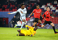 Callum Hudson-Odoi of Chelsea scores his goal despite goalkeeper of Stade Rennais Alfred Gomis during the UEFA Champions League, Group E football match between Stade Rennais and Chelsea on November 24, 2020 at Roazhon Park in Rennes, France - Photo Jean Catuffe / ProSportsImages / DPPI