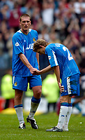 Photo. Jed Wee.<br /> Wigan Athletic v West Ham United, Nationwide League Division One, 09/05/2004.<br /> Wigan captain Jason De Vos (L) tries to console Jimmy Bullard.