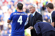 Leicester City Manager Claudio Ranieri offers advice to Daniel Drinkwater of Leicester City who has a drink. Barclays Premier League match, Stoke city v Leicester City at the Britannia stadium in Stoke on Trent, Staffs on Saturday 19th September 2015.<br /> pic by Chris Stading, Andrew Orchard sports photography.