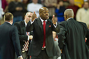 Feb 16, 2013; Fayetteville, AR, USA; Arkansas Razorbacks head coach Mike Anderson calls for a jump ball during a game against the Missouri Tigers at Bud Walton Arena. Arkansas defeated Missouri 73-71. Mandatory Credit: Beth Hall-USA TODAY Sports