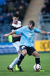 Falkirk's Jonathan Flynn and Dundee's Pater MacDonald.<br /> Falkirk 2 v 0 Dundee, Scottish Championship game at The Falkirk Stadium.<br /> © Michael Schofield.