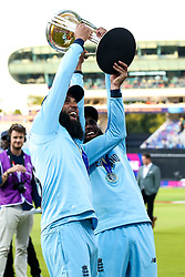 Moeen Ali of England and Adil Rashid of England celebrate winning the ICC Cricket World Cup - Mandatory by-line: Robbie Stephenson/JMP - 14/07/2019 - CRICKET - Lords - London, England - England v New Zealand - ICC Cricket World Cup 2019 - Final
