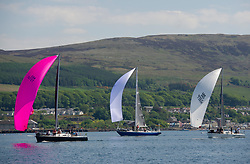 Day 3 Scottish Series, SAILING, Scotland.<br /> <br /> Class 5 fleet, Satisfaction, Reindeer and Samurai J<br /> <br /> The Scottish Series, hosted by the Clyde Cruising Club is an annual series of races for sailing yachts held each spring. Normally held in Loch Fyne the event moved to three Clyde locations due to current restrictions. <br /> <br /> Light winds did not deter the racing taking place at East Patch, Inverkip and off Largs over the bank holiday weekend 28-30 May. <br /> <br /> Image Credit : Marc Turner / CCC
